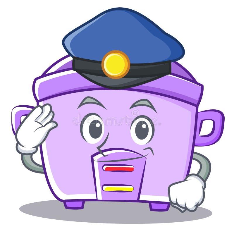 Fumetto del carattere del fornello di riso della polizia illustrazione di stock