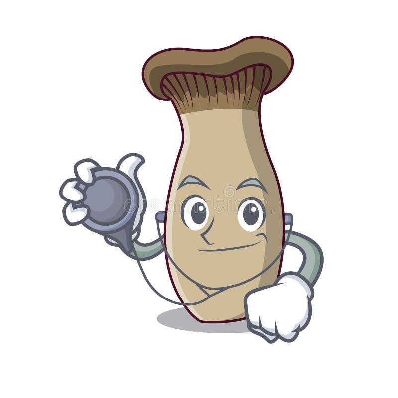 Fumetto del carattere del fungo della tromba di re di medico illustrazione vettoriale