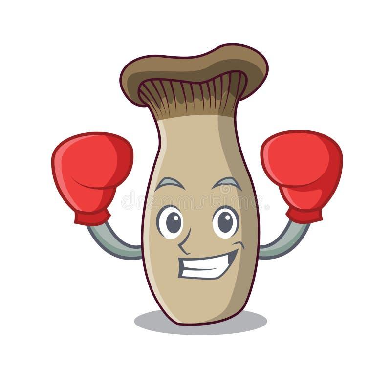 Fumetto del carattere del fungo della tromba di re di pugilato illustrazione di stock