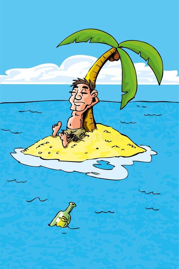 Fumetto del castaway su un'isola di deserto illustrazione di stock
