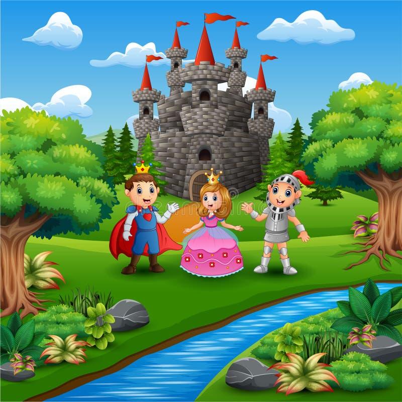 Fumetto del cavaliere con le coppie di principe e di principessa nella pagina del castello royalty illustrazione gratis