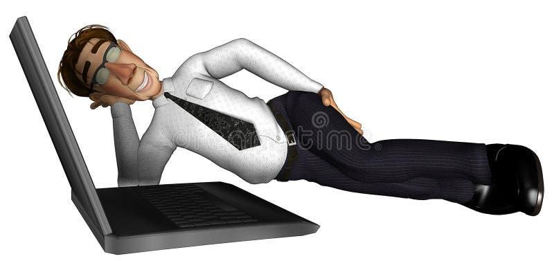 fumetto del computer portatile dell'uomo d'affari 3d royalty illustrazione gratis