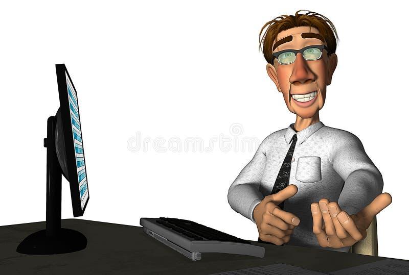 fumetto del computer portatile dell'uomo d'affari 3d illustrazione vettoriale