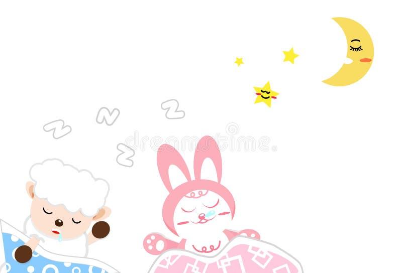 Fumetto del coniglio e delle pecore che dorme fra la luna e le stelle, buon nig illustrazione vettoriale