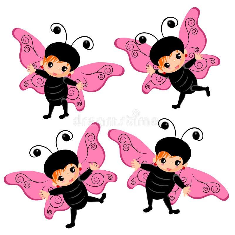 Fumetto del costume della farfalla illustrazione vettoriale