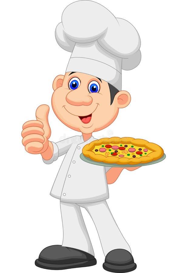 Fumetto del cuoco unico con pizza royalty illustrazione gratis