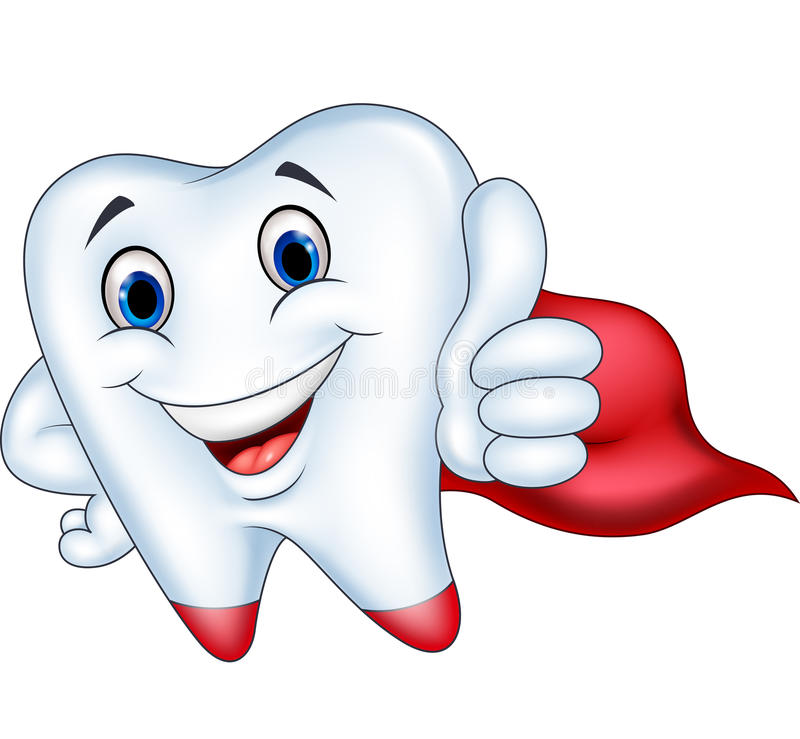 Fumetto del dente del supereroe con il pollice su royalty illustrazione gratis