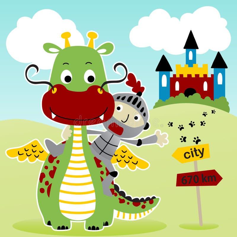Fumetto del drago con il cavaliere divertente illustrazione vettoriale