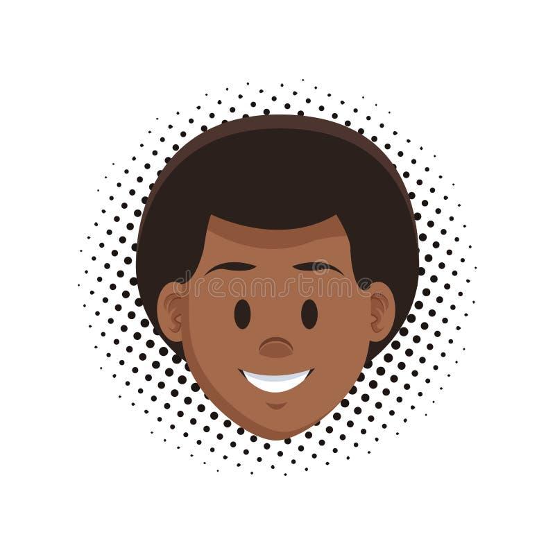 Fumetto del fronte dell'uomo illustrazione vettoriale
