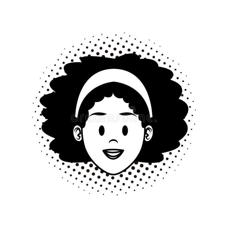 Fumetto del fronte della donna in bianco e nero royalty illustrazione gratis