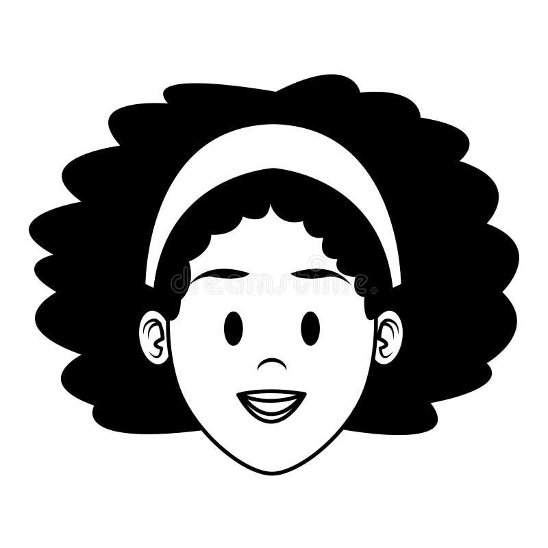 Fumetto del fronte della donna in bianco e nero illustrazione vettoriale