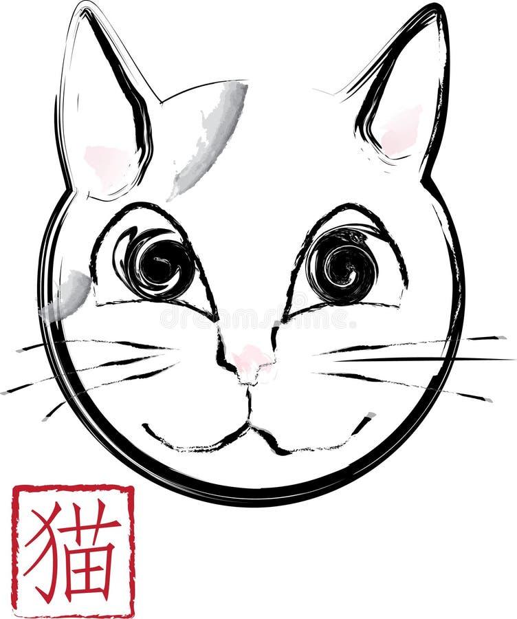 Fumetto del gatto con un bollo asiatico immagini stock