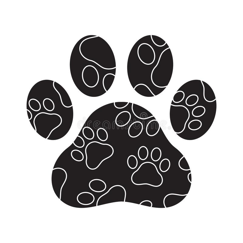 Fumetto del gatto orsino del bulldog francese dell'illustrazione di simbolo grafico del cammuffamento dell'icona di logo di orma  illustrazione vettoriale