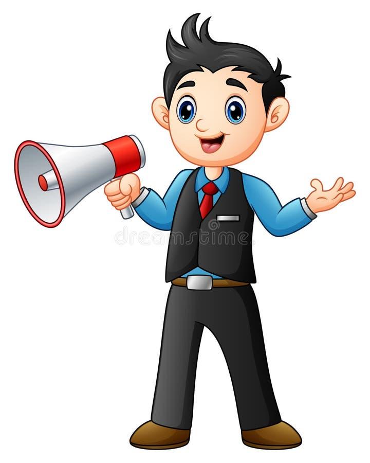 Fumetto del giovane che tiene un megafono illustrazione di stock