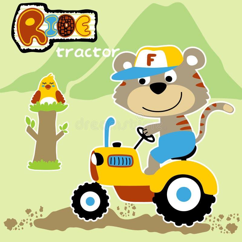 Fumetto del giro animale sveglio dell'agricoltore un trattore royalty illustrazione gratis