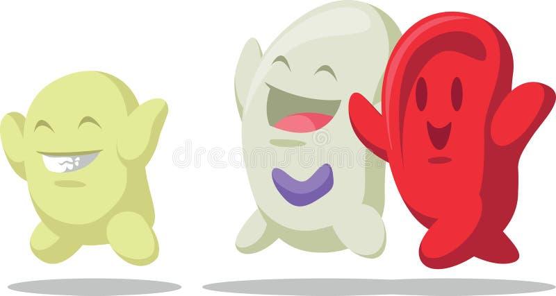Fumetto del globulo - eritrociti, leucociti,  illustrazione di stock
