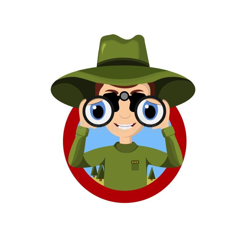 Fumetto del guardia forestale di parco che giudica binoculare isolato nel fondo bianco illustrazione vettoriale
