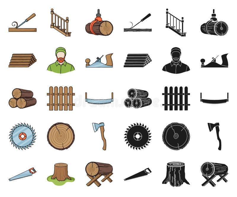 Fumetto del legname e della segheria, icone nere nella raccolta stabilita per progettazione Web delle azione di simbolo di vettor royalty illustrazione gratis