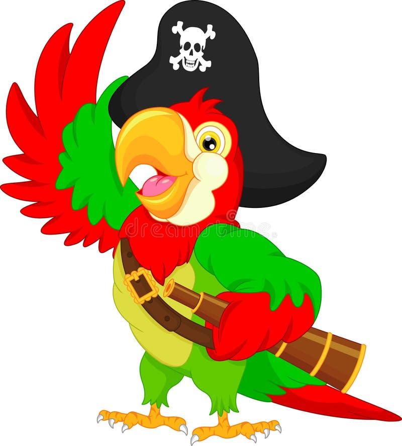 Fumetto del pappagallo del pirata illustrazione vettoriale