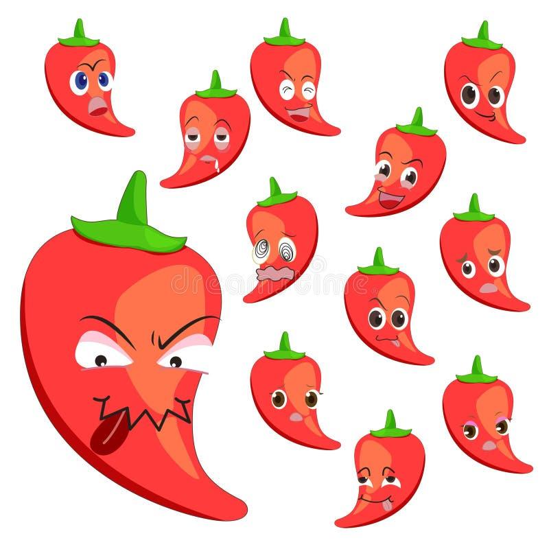 Fumetto del pepe caldo con molte espressioni illustrazione di stock