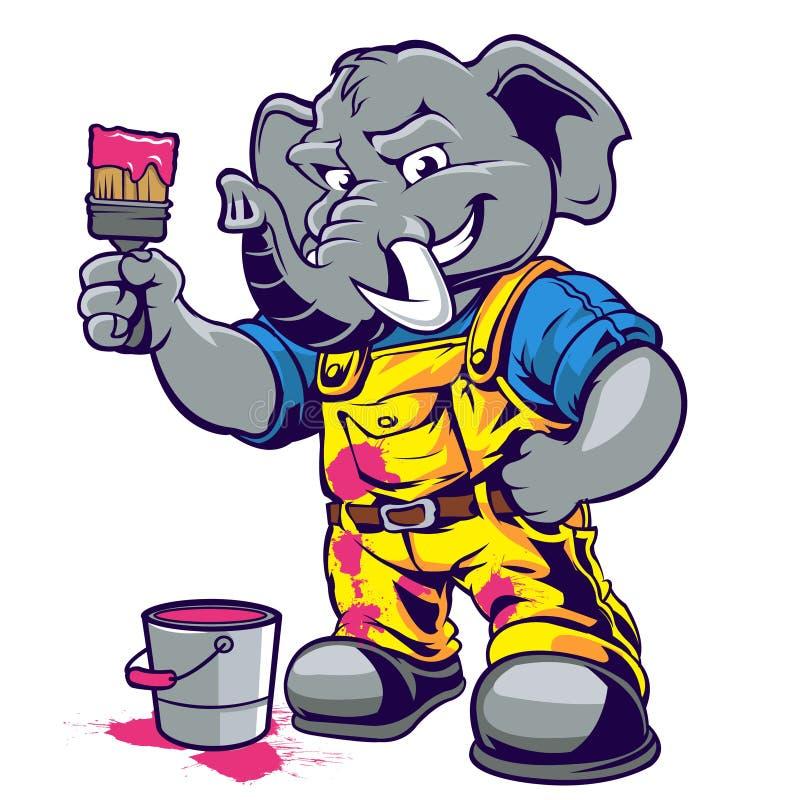 Fumetto del pittore dell'elefante royalty illustrazione gratis
