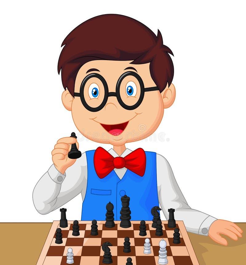 Fumetto del ragazzino che gioca scacchi illustrazione vettoriale