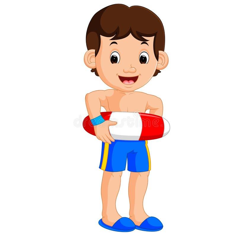 Fumetto del ragazzo con l'anello gonfiabile royalty illustrazione gratis