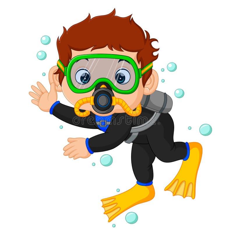 Fumetto del ragazzo dell'operatore subacqueo illustrazione di stock