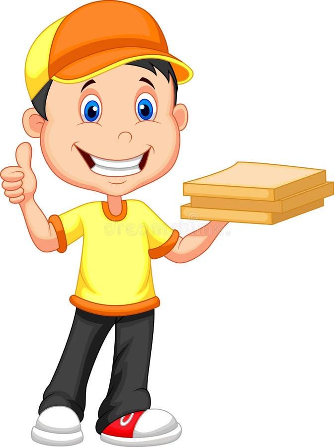 Fumetto del ragazzo di consegna che porta un contenitore di pizza del cartone illustrazione vettoriale