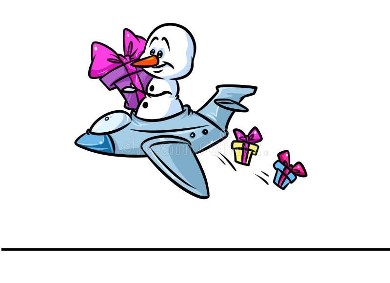 Fumetto del regalo di volo dell'aereo del carattere del pupazzo di neve di Natale illustrazione vettoriale