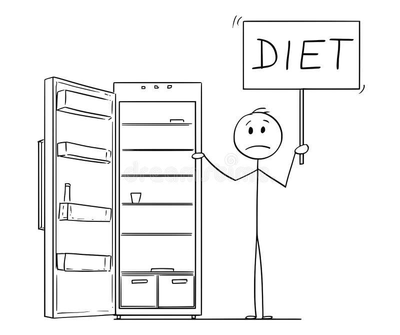 Fumetto del segno affamato di dieta della tenuta dell'uomo e frigorifero o frigorifero vuoto illustrazione di stock