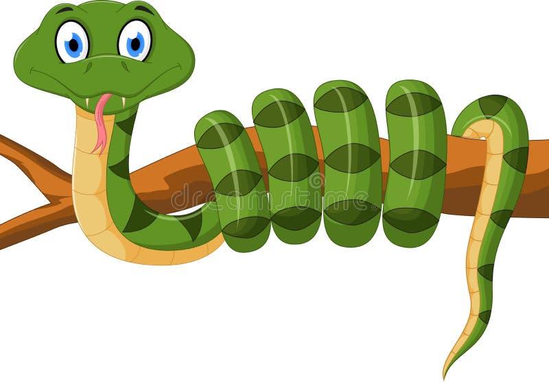Fumetto del serpente verde sul ramo illustrazione di stock