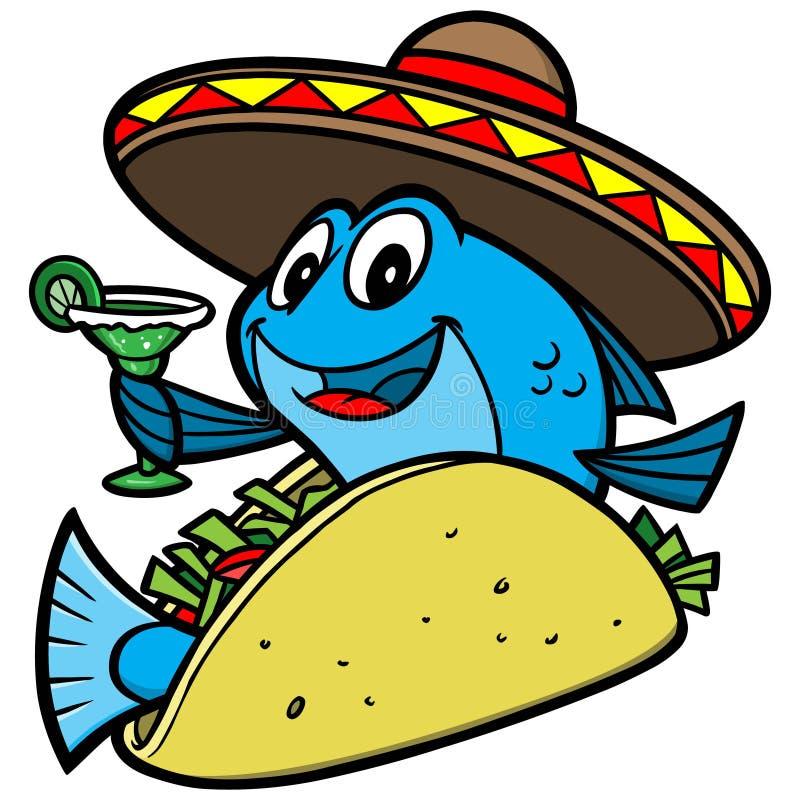 Fumetto del taco di pesce illustrazione vettoriale