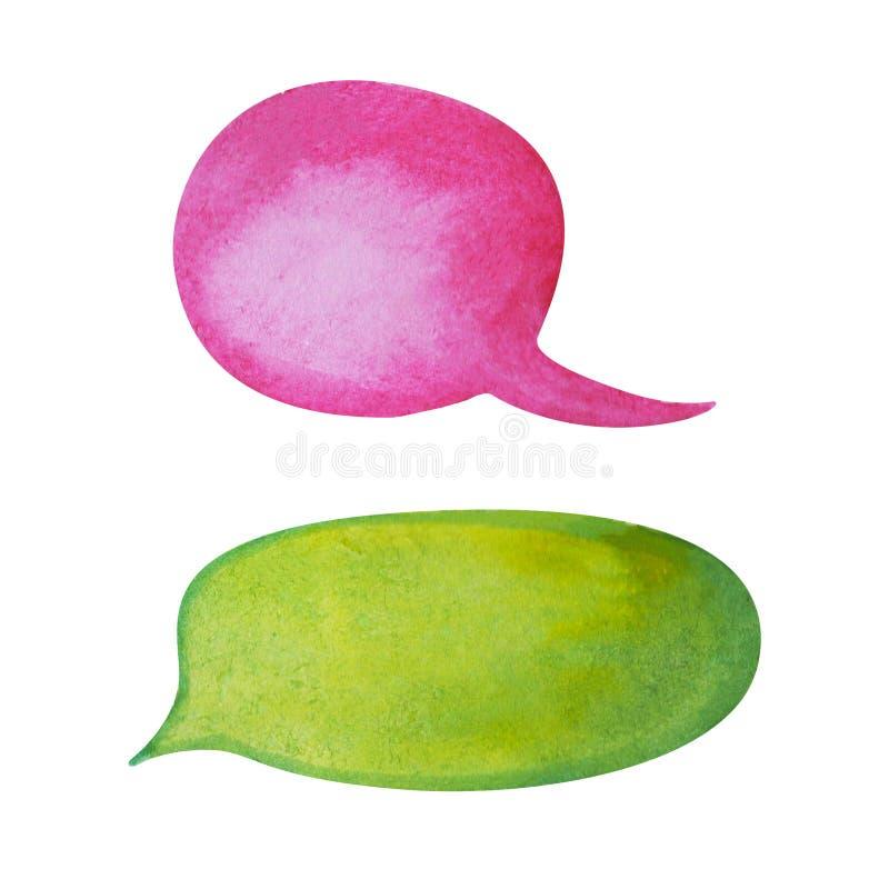 Fumetto dell'acquerello su fondo bianco Elemento disegnato a mano del testo della nuvola rosa e verde intenso della bolla royalty illustrazione gratis