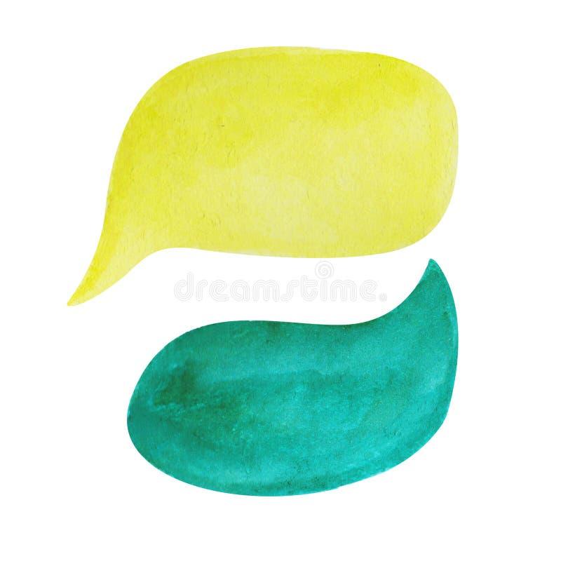 Fumetto dell'acquerello su fondo bianco La bolla del testo giallo e di verde smeraldo si appanna l'elemento disegnato a mano royalty illustrazione gratis