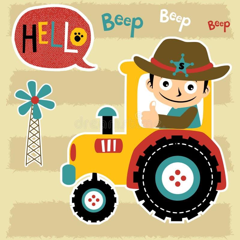 Fumetto dell'agricoltore con il trattore giallo illustrazione di stock