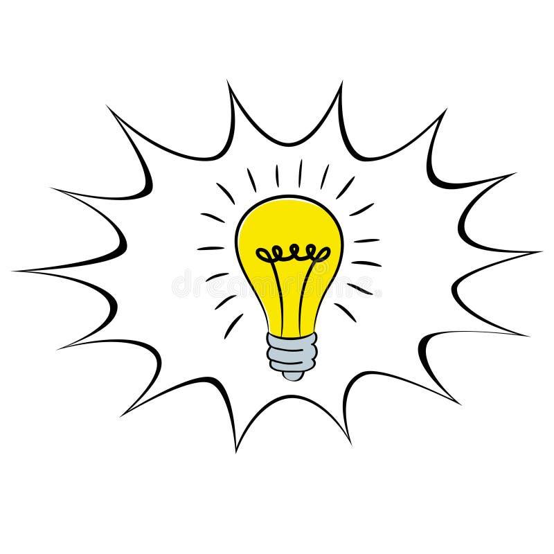 Fumetto dell'icona di idea della lampadina nel fumetto, illu di riserva di vettore royalty illustrazione gratis