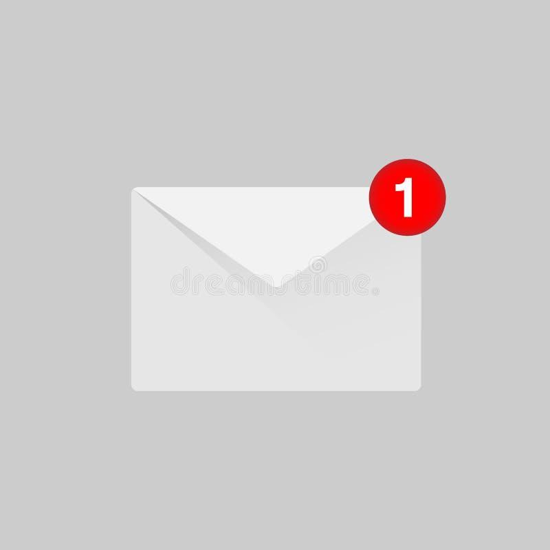 Fumetto dell'icona di notifica nella lettera aperta il concetto del ui, spazio vuoto rosso, cassetta delle lettere, lista di cont royalty illustrazione gratis