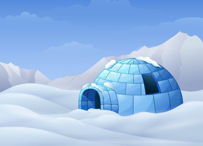 Fumetto dell'iglù con le montagne nell'illustrazione di inverno illustrazione vettoriale