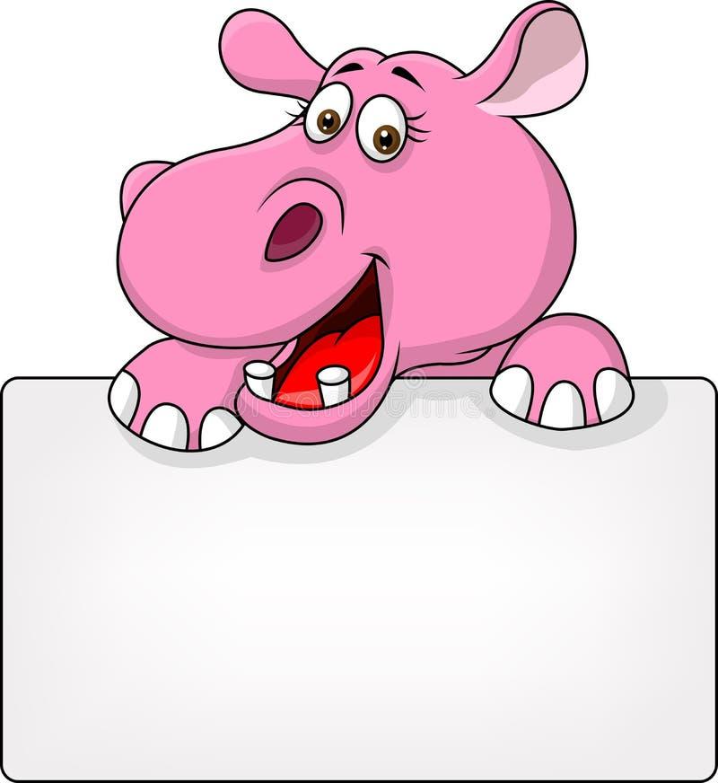 Fumetto dell'ippopotamo con il segno in bianco royalty illustrazione gratis