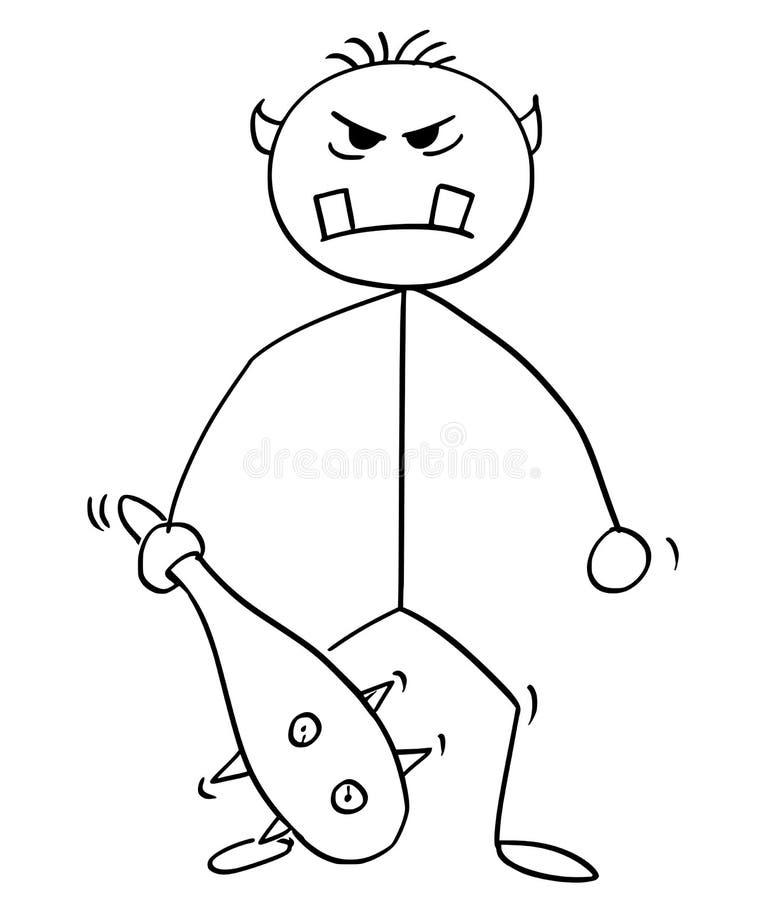 Fumetto dell'orco, del gigante o del mostro di Troll con il club royalty illustrazione gratis