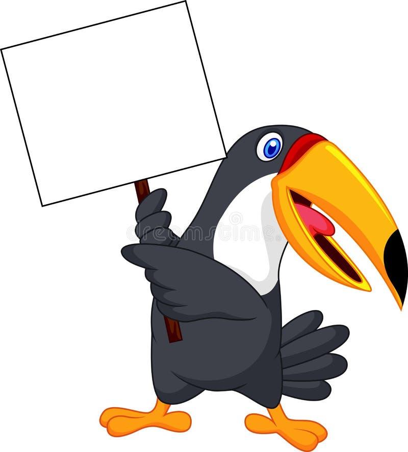 Fumetto dell'uccello del tucano con il segno in bianco illustrazione di stock