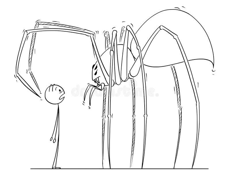 Fumetto dell'uomo che affronta il mostro gigante del ragno royalty illustrazione gratis