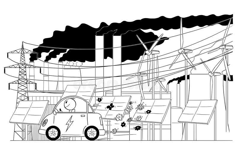 Fumetto dell'uomo che guida automobile elettrica con l'infrastruttura elettrica di griglia sul fondo illustrazione vettoriale