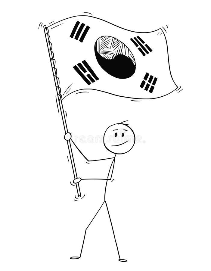 Fumetto dell'uomo che ondeggia la bandiera della Repubblica Coreana o della Corea del Sud illustrazione di stock