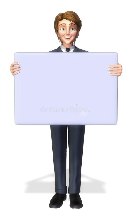 Fumetto dell'uomo d'affari che tiene un segno 3 illustrazione vettoriale