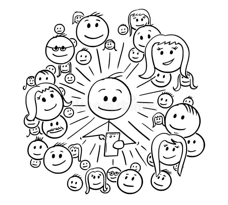 Fumetto dell'uomo e dei suoi collegamenti di rete sociale illustrazione vettoriale