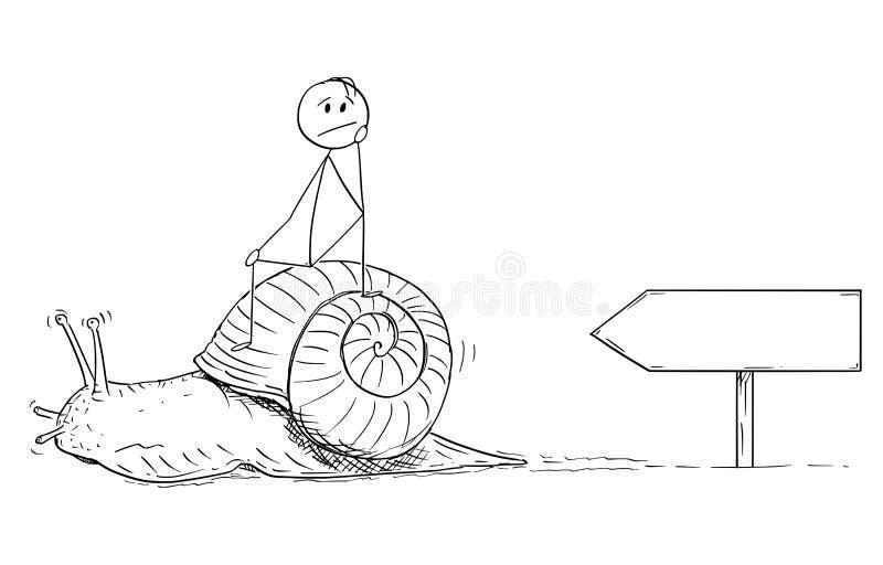 Fumetto dell'uomo o dell'uomo d'affari frustrato Sitting sulla lumaca lenta illustrazione di stock