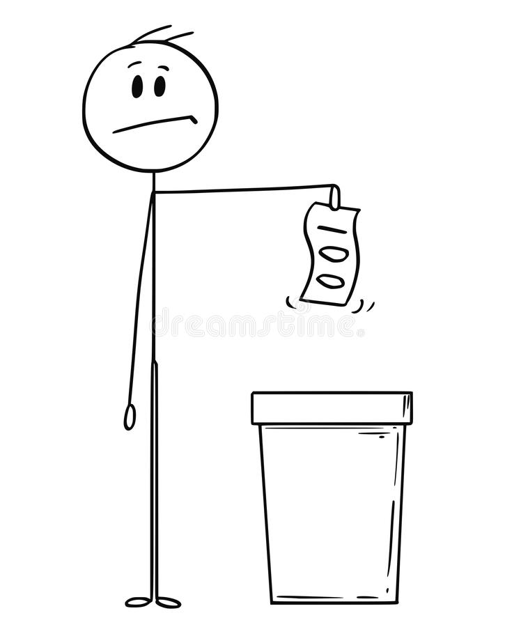 Fumetto dell'uomo o uomo d'affari Throwing Banknote o soldi in secchio della spazzatura illustrazione vettoriale