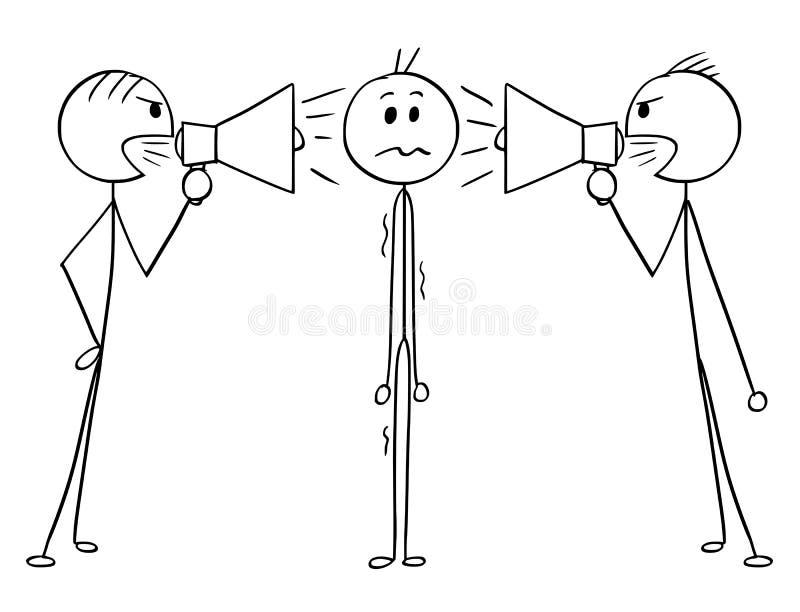 Fumetto dell'uomo o dell'uomo d'affari Between Two Men con gli altoparlanti rumorosi illustrazione vettoriale